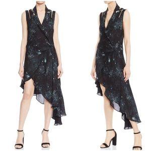 {haute hippie} silk cut-out flutter wrap dress